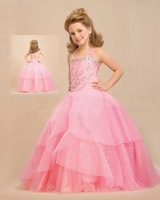 Best Design Spaghetti Strap Floor Length Ball Gown Floor Length Pink Organza Bubble Flower Girl Dresses For Weddings 2014