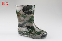 free shipping Warrior rain boots large male child Camouflage fashion rainboots slip-resistant rubber waterproof shoes