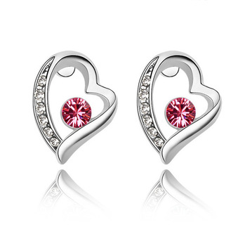 JC5081 Long Drill Rhyme Intended Valentines Love Heart Earrings, 925 Silver Plated Imitation Crystal Embellished Earrings