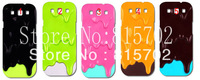 Melting ice cream skin style FLAT  Hard case cover for SIII S3/i9300 10pcs/lot  free shipping