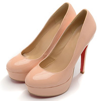 Free shipping 2014 New Fashion 140mm Leather Bottoms Platform High heeled Pumps Platform shoes women's High Quality gg 004