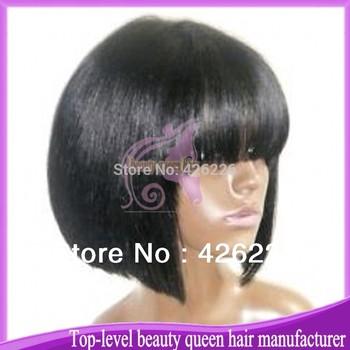 Natural looking human hair brazilian virgin short bobo full lace wig with bangs for black women free shipping !
