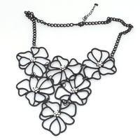 2013 Statement Choker Necklaces,Fashion Alloy Black Hollow out Crystal Flower Design Collar Nickel Free Jewelry,Free Shipping