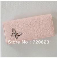 Free shipping 2013 Butterfly change Coin Bag lady's long Purse three fold zip Women's Wallet Banbag