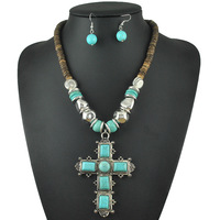 Vintage Tibet Alloy Antique Silver Plated Cross Necklace Set Turquoise Jewelry Sets S044