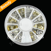 120Pcs Fashion Metal Gold Silver Nail Art Decoration Rhinestone Tips Metallic Studs 10912