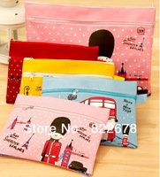 A4 File bag with Double Zippers Korean Stationary Oxford Fabric Paper bags Free shipping 4pcs/lot