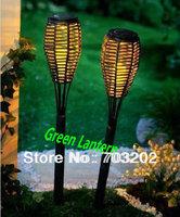 Yellow Rattan Torch Light Pathway Solar Garden Lamp