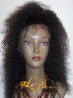 2013QingDao Fashion 100%  Peruvian  virgin lace wigs!kinky  curly! #1b