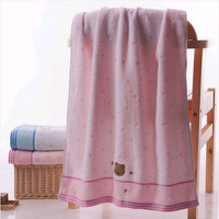 Cartoon cute 100% cotton towel twistless embroidered towels soft suction towels baby bath towel