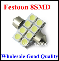 wholesale 50pcs/lot 31mm 8 SMD LED 5050 Car Dome Festoon Interior Light Bulb Lamp White LED License Plate Light LED Festoon