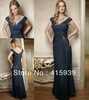 Free shipping elegant a line cap sleeve v neckline beaded mother of the bride dress MQ011