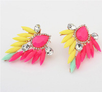 Min Order $10(Can mix order) Sweet Fluorescent Colors Summer Style Vintage Earrings Fashion Jewelry Free Shipping E1065