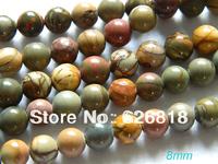 Freeshipping (3strands/) set natural  8mm picasso jasper smooth round beads china gems diy jewelry beads