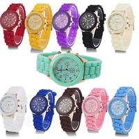 10 Pcs/lot Wholesale 2014 New GENEVA Brand Women Dress Watches,Good Quality Silicone Jelly Quartz Wristwatch,Free Shipping
