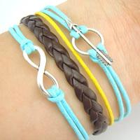hot sell fashion silver turquoise arrow infinity charm bracelet  leather bracelet