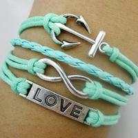 hot sell fashion vintsge silver turquoise infinity anchor love bracelet  korea velvet bracelet
