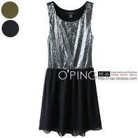 Free Shipping 2013 New Fashion Women's Chiffon Short in Front Dress Shining Paillette Dresses Elegant Sleeveless Short Skirt