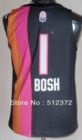 Free Shipping!! #1 Chris Bosh ABA throwback black jersey Embroidered logo( all name, numbers stitched )