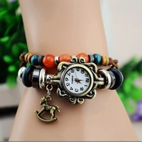 2013 Ladies Vintage Wooden Horse Bracelet Watch Rome Women Genuine Cow Leather Quartz Wristwatches Free Shipping