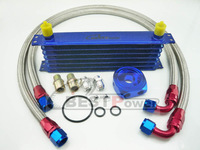 7 row 8AN universal engin transmission oil cooler + Stainless Steel oil Line