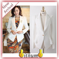 Free shipping 2014 New Women's Fashion OL suit jacket Three Colors For Choose Black and white jacket Tangerine Retail Wholesale