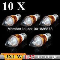 10PCS E27 3w white / warm white Sharp bubble LED Bulb Light Candle Light Energy saving AC85-265V Free Shipping