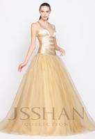 11G054 Deep V-Neck Ruching Beaded Tull Elegant Gorgeous Luxury Unique Brilliant A-Line Quinceanera Dress