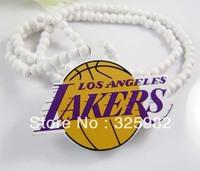 Wholesale 5Pcs/Lot Basketball Lakers Pendant Good Wood Wooden Fashion Dancer Color Hip-Hop Necklace