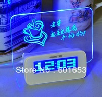 Romantic Fluorescence USB Message Board Clock Electronic Luminous Alarm Clock with 4 Ports USB Hubs