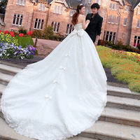Urged 2013 bride new arrival luxurious train wedding dress sweet princess V-neck a970