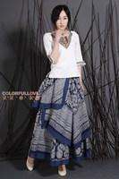 National trend linen irregular sweep expansion half-length long vintage blue and white porcelain skirt