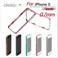 MOQ:1pcs, 0.7mm Ultra thin hight qualtily cross line sp-5 Aluminum metal bumper case for iphone 5,Free Shipping, A0212