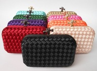 Factory new listing  women candy color  Wove evening bag and clutches 2013 shoulder  day Clutches With Chain free shipping XP73
