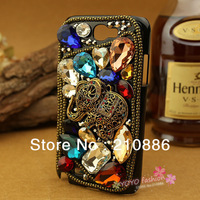 phone Case Covers for  samsung galaxy Note 2 II N7100,ancient colourful hollow elephant,bling Rhinestone crystal,Free shipping