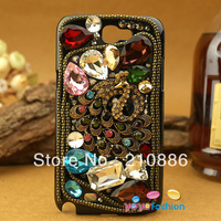 phone Case Covers for samsung galaxy Note 2 II N7100,ancient ,colourful peacock phoenix,bling Rhinestone crystal,Free shipping