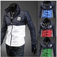Free shipping New style fashion mens coats casual active Jacket Letter Printing Color matching men windbreak jackets 4 colors