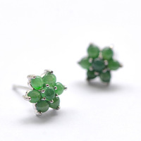 N912 bold emerald earrings silver inlay green sun A cargo of ice kinds of natural jade inlaid jade earrings earrings egg noodles