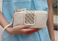 2013 New Casual Women Fashion PU Leather bags Women day clutch evening bags vintage classic rivets