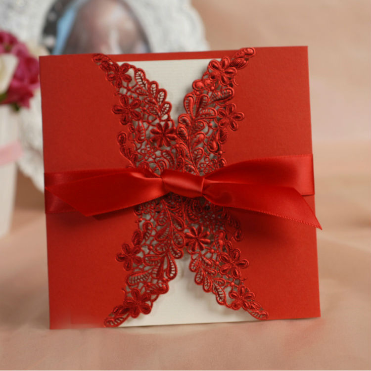 Vintage & Gorgeous Lace Cutout Wedding Invitations Cards in Red With Ribbon Customized & Printing 50 pcs/lot Free Shipping New(China (Mainland))