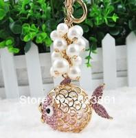 Free Shipping! Cute Bling Bling Rhinestones Fish Animal Keychain Key Hanger Key Ring Key Chain