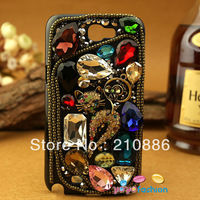 phone Case Covers for samsung galaxy Note 2 II N7100,ancient style ,colourful sexy cat,bling Rhinestone crystal,Free shipping