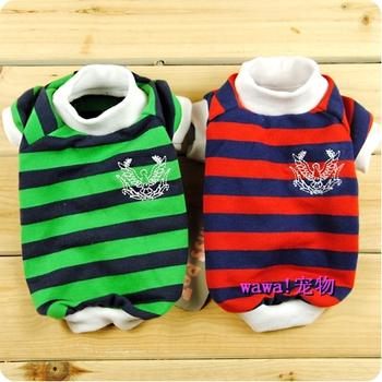 3 ! misspet stripe badge jersey wellsore pet dog clothes teddy