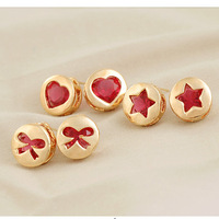 Sunshine jewelry store fashion red gold love star and bow earrings for women e449 (min order $10 mixed order)