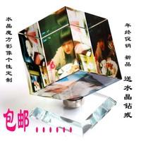 360 rotating crystal magic cube lettering birthday gift music box