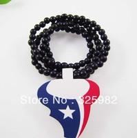 Wholesale 5Pcs/Lot  Houston Texans Pendant Good Wood Wooden Fashion Dancer Color Hip-Hop Cowboy Necklace