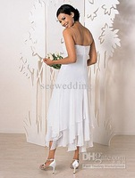 Wholesale - Custom Sexy New Empire Waist Spaghetti Straps Beads Chiffon Tea Length Handkerchief Wedding Dresses