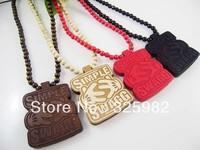 Wholesale 5Pcs/Lot Simple SWAGG Pendant Good Wood Wooden Fashion Dancer Color Hip-Hop Cowboy Necklace