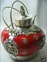 Rare Tibet silver red jasper teapot free shipping