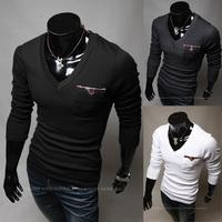 2013 New Men Slim V-neck long-sleeved t-shirt pocket patchwork design Free shipping 9104